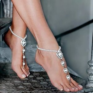 2 Pcs Crystal and Pearl Barefoot Sandals Anklet
